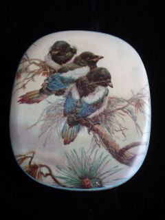 THORNE VINTAGE ANTIQUE METAL TOFFEE TIN BLUE BIRDS MADE IN ENGLAND