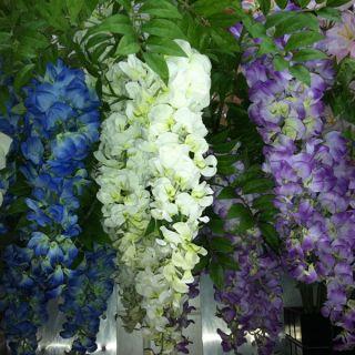 HANGING SILK PURPLE WHITE BLUE 3 FLOCKS ARTIFICIAL WISTERIA FLOWER