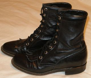 Justin Roper Lace Up Black Unisex Size 5.5 B Womens Western Boots