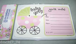 Baby Shower INVITATION CARDS BABY GIRL Carriage ~ NEW