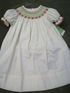 NEW SIZE 18 MONTHS SMOCKED LE ZA ME WHITE CORDUROY W/ HOLIDAY COLORS