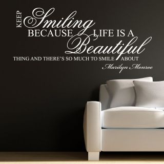 KEEP SMILING  MARILYN MONROE WALL STICKER DECAL QUOTE ART MURAL