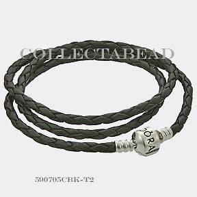 listed Authentic Pandora Silver Small Triple Black Leather Bracelet