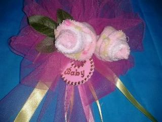 Handmade Baby shower corsage BABY SOCK ROSES SO CUTE ITS A GIRL