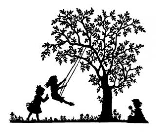 Children Playing; Tree Swing 1 Unmounted Rubber Stamp