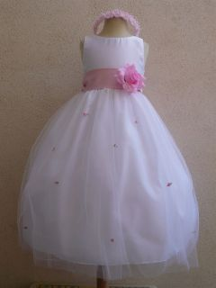 NEW IVORY PINK FLOWER GIRL BABY TODDLER PARTY DRESSES