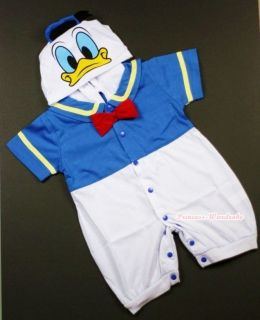 Infant Baby Donald Duck Romper Halloween Party Costume Cosplay Outfit