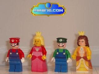 Custom LEGO Super Mario Luigi Pricess Peach and Princess Daisy #039C
