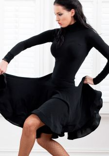 NEW Latin Salsa Ballroom Dance Dress long sleeve dress #HB133 Black