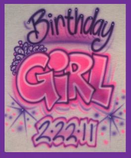 Airbrushed princess kids birthday girl BABY DESIGN WITH NAME T Shirt