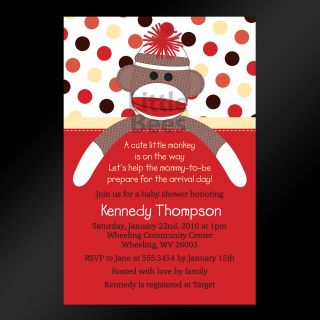 Sock Monkey Birthday Baby Shower Invitations   Set of 10   Any Color