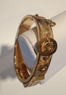 ANTIQUE VICTORIAN Gold Filled BUCKLE BANGLE BRACELET Elaborate Detail
