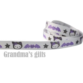 10mm Hello Kitty & Bats Grosgrain Ribbon 5/50/100 Yards Hairbow