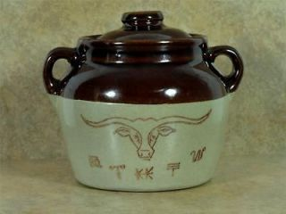 VINTAGE WESTERN BEAN POT Stoneware Crock Steer Ranch Cattle Brands