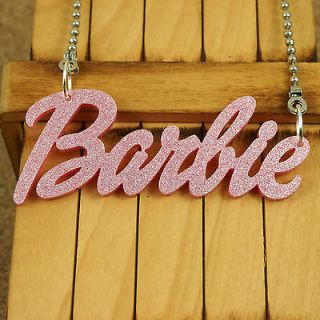 GLITTER PINK ACRYLIC PENDANT KITSCH BARBIE NAME NECKLACE JEWELRY NICKI