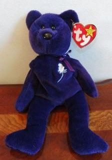 TY BEANIE BABIES BABY PRINCESS DIANA PURPLE BEAR MWMT NUMBERED # 450