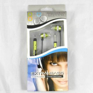 EXTRA BASS 3.5 MM STERO HEADSET W/ MIC FOR SAMSUNG PHONES GREEN BLACK