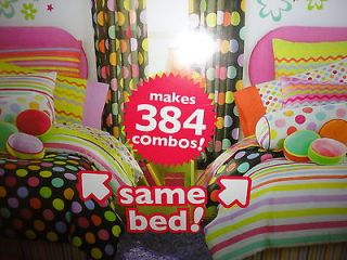 HED KOMBOZE ZANY BLACK QUEEN BED BAG COMFORTER POLKA DOTS 8PC PINK