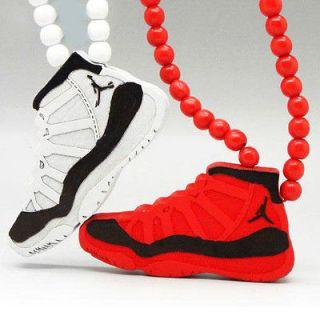 Quality Hip Hop Jordan Retro Shoes Pendants Wood Rosary Bead Necklaces