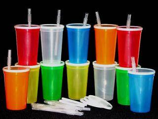 12 20 OZ PLASTIC DRINKING GLASSES LID,STRAW CUP TUMBLER