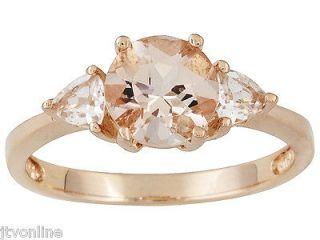 Morganite & White Topaz 18k Pink Gold .925 Sterling Silver Ring JTV
