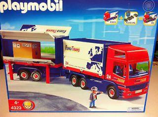 NIB Playmobil 4323 Euro Trans Big Rig Tractor Trailer RC Compatible