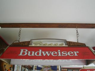 BUDWEISER WITH CLYDESDALES POOL TABLE LIGHT VINTAGE