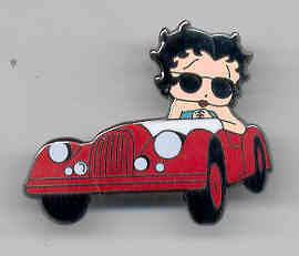 Sexy Betty Boop DRIVING RED SPORTS CAR Pin