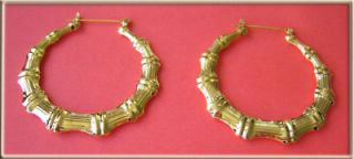 Big Gold Bamboo Hoop Earrings 3 / 7.5cm Diameter