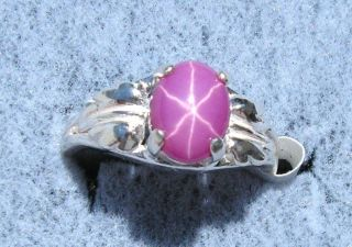 8X6MM LINDE LINDY STAR RUBY CREATED SAPPHIRE SS RING