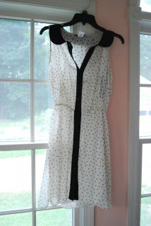Size Small 3/4 Black White Polka Dot Dress Black Collar Piping Two
