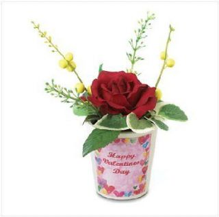 VALENTINES DAY Mini Fabric Roses Flower Bouquet Terra Cotta Pot Gift