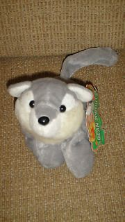 CAP Bean Sprouts HOWIE Gray White Wolf Stuffed Animal Plush