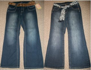 NWT ANGELS BELTED DENIM BOOT CUT JEANS WOMENS PLUS SZ 14 16 18 20 22
