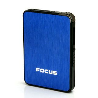 FOCUS Ultra thin Automatic Cigarette Case With Lighter Blue