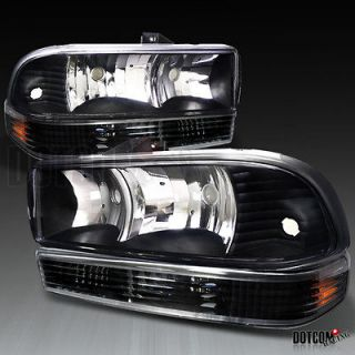 98 04 CHEVY S10 BLAZER PICKUP TRUCK HEADLIGHTS+BUM​PER LAMPS BLACK