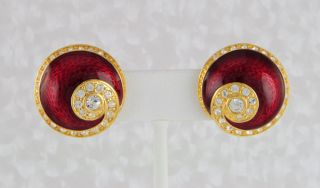 Kennedy JBK Collection Red Enamel & Crystal Clip Button Earrings