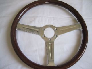 MOMO Wood Polished Spoke Steering Wheel Alfa chevy lancia fiat Datsun