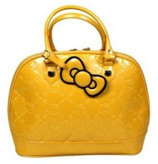 Sanrio Yellow Hello Kitty Embossed Patent Bowler Purse Handbag Bag