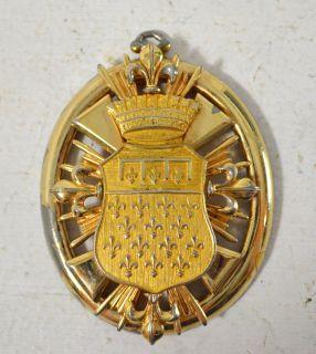 Vintage NETTIE ROSENSTEIN Gold Tone Medallion Pendant/ Vintage Costume