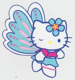 HELLO KITTY BUTTERFLY WALL SAFE STICKER BORDER CHARACTER CUT
