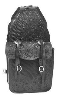 Blk All Leather Horse Western Cowboy Heavy Duty Saddl Saddle Bag