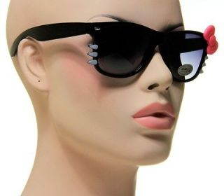Ladies Hello Kitty Shades Medium Black Frame With Pink Bow Sunglasses