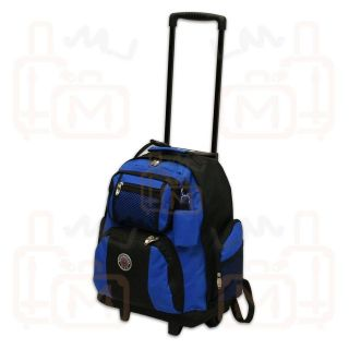 NEW Roomy 18 ROLLING WHEELED BACKPACK/ BOOKBAG   Royal Blue