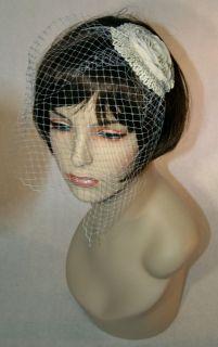 NEW Church Wedding Veil Fascinator Ivory BRIDE Hat Kentucky