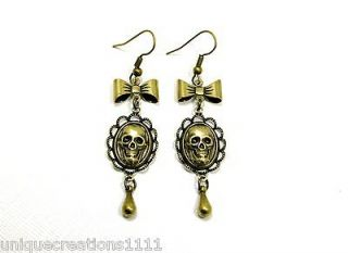 SKULL & BOW EARRINGS Day of the Dead Memento Mori Gothic Pirate