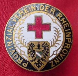 STUNNING GERMAN ENAMEL LAPEL PIN RED CROSS VEREIN DER RHEINPROVINZ