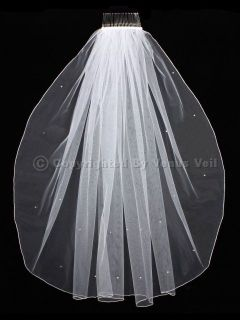 Elbow Length Scattered Rhinestones Pencil Edge Wedding Bridal Veil