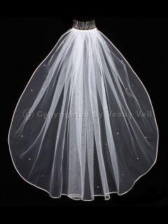 Shoulder Short Scattered Rhinestones Rattail Edge Wedding Bridal Veil