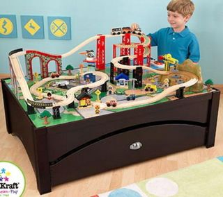 Wooden Toy Train Table Set KidKraft Espresso Metro Brio Compatible